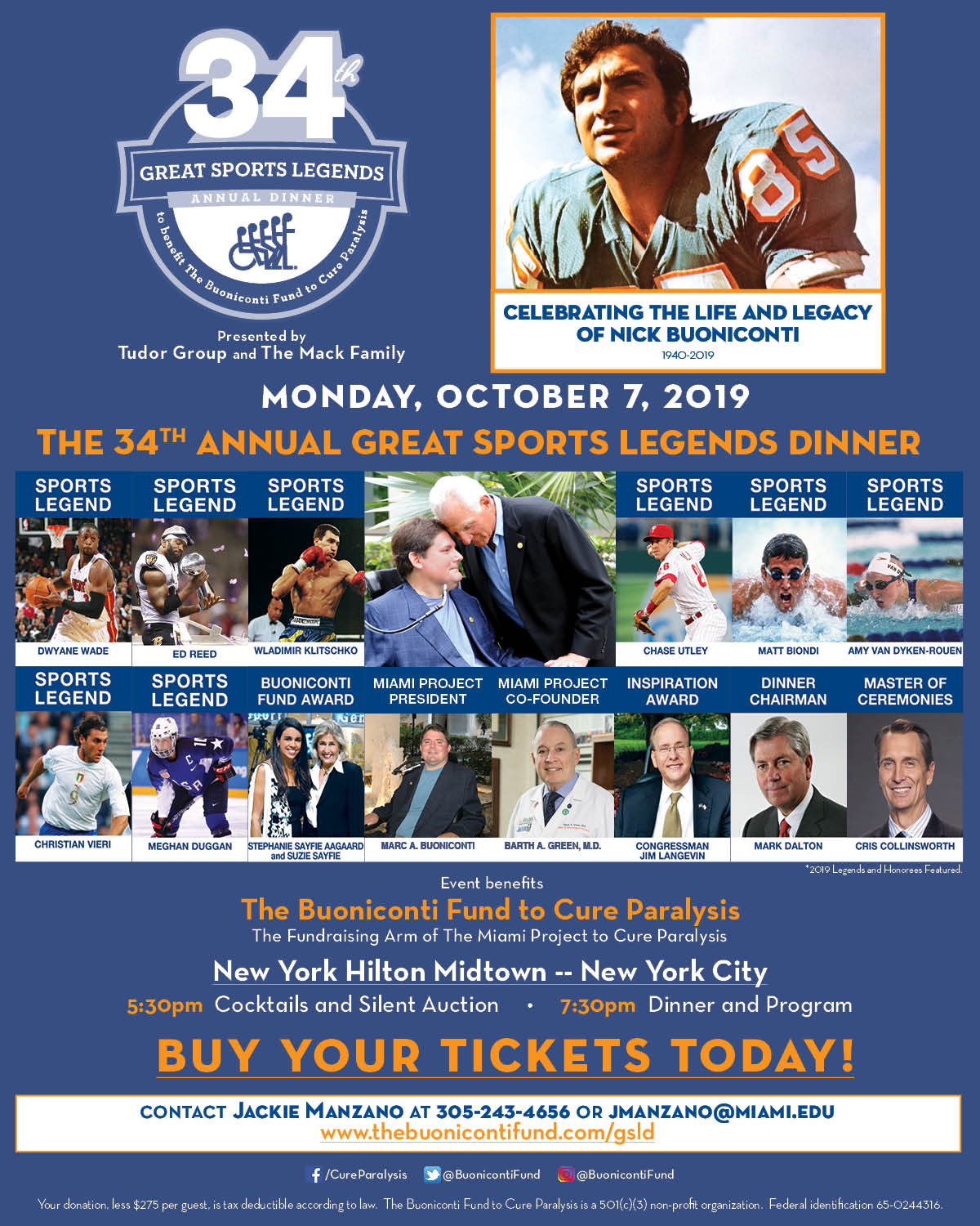 34th Annual Great Sports Legends Dinner presented by Tudor Group and The Mack Family
