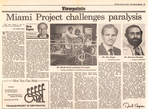 Miami Project Challenges Paralysis - The Miami Herald June 22, 1986
